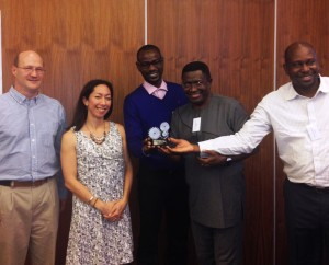 From Left: Project Director Brad Lucas, PMI IRS Lead Allison Belemvire, AIRS Mali Entomological Coordinator Moussa Cisse, AIRS Mali Chief of Party Elie Bankineza and AIRS Mali Operations Manager Seydou Traoré