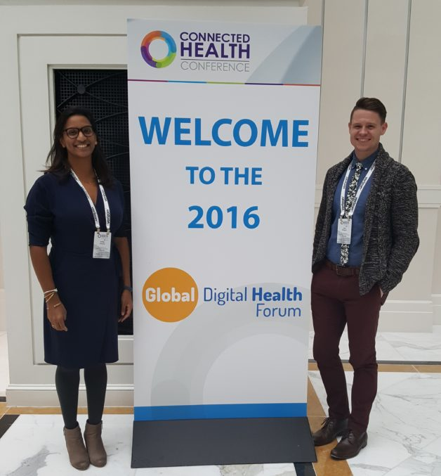 Ashley Thomas and Keith Mangam present on mhealth initiatives at the Global Digital Health Forum in Washington, DC.