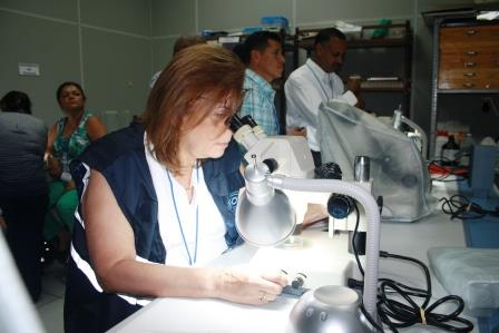 Twenty-four people participated in the ZAP entomology training, including Dr. Mirna Gavidia, a vector control technician working for the Ministry of Health in El Salvador. Photo credit: Diana Romero Arias